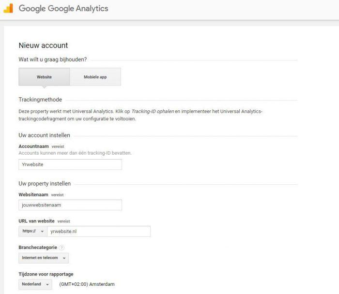 Google analytics informatie formulier