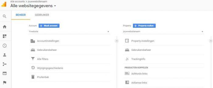 Google analytics nieuw account maken